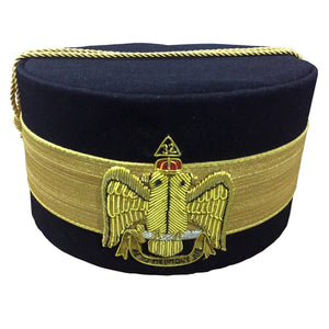 32nd Degree Scottish Rite Wings DOWN Black Cap Bullion Hand Embroidery - Bricks Masons