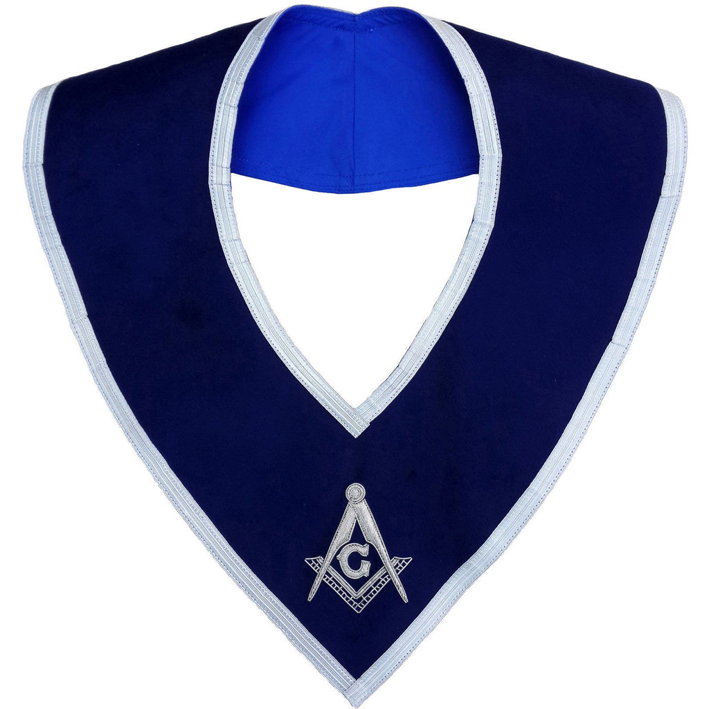 Masonic Master Mason Collar Blue Velvet Hand Embroidered - Bricks Masons