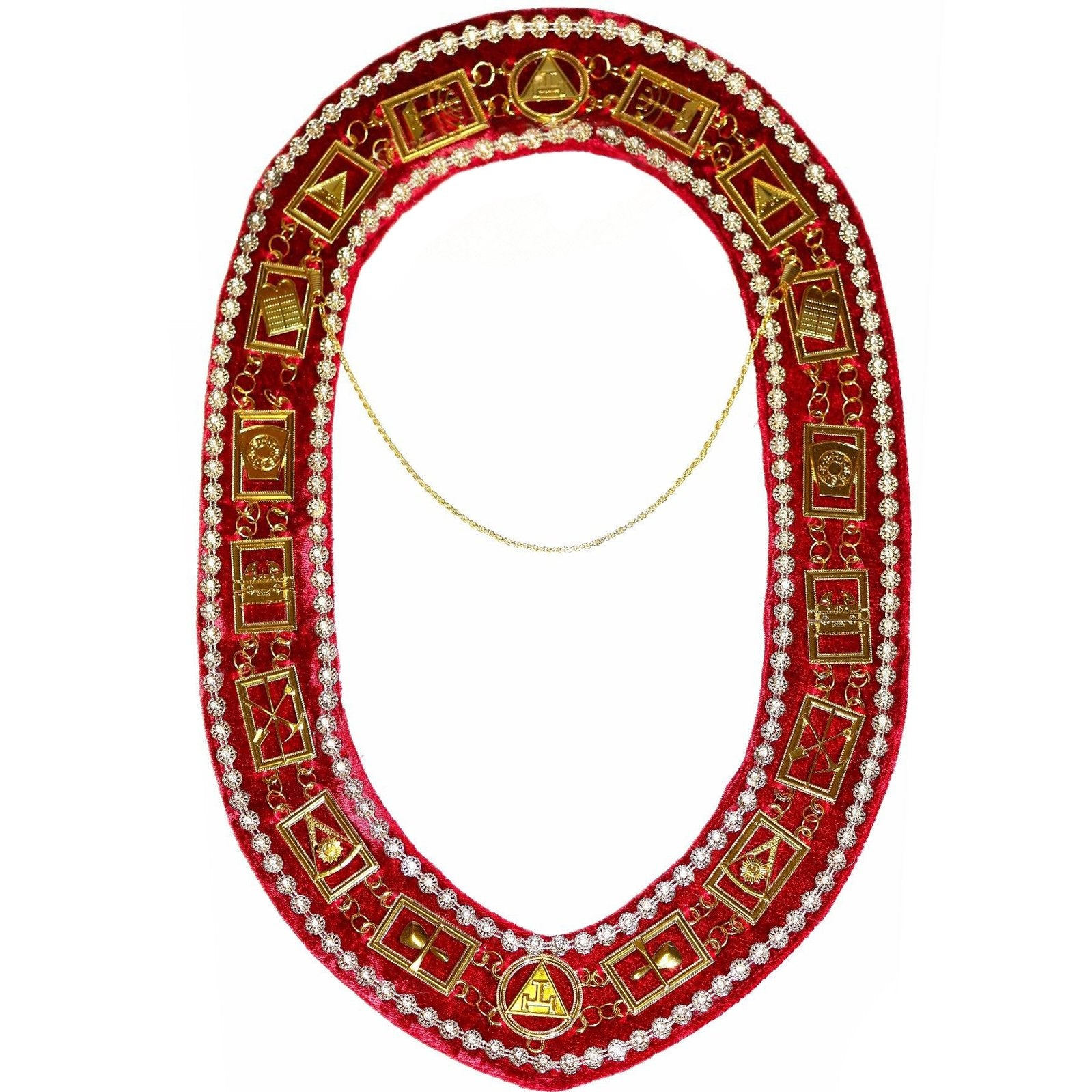 Royal Arch - Chain Collar with Rhinestones - Gold/Silver on Red Velvet + Free Case - Bricks Masons
