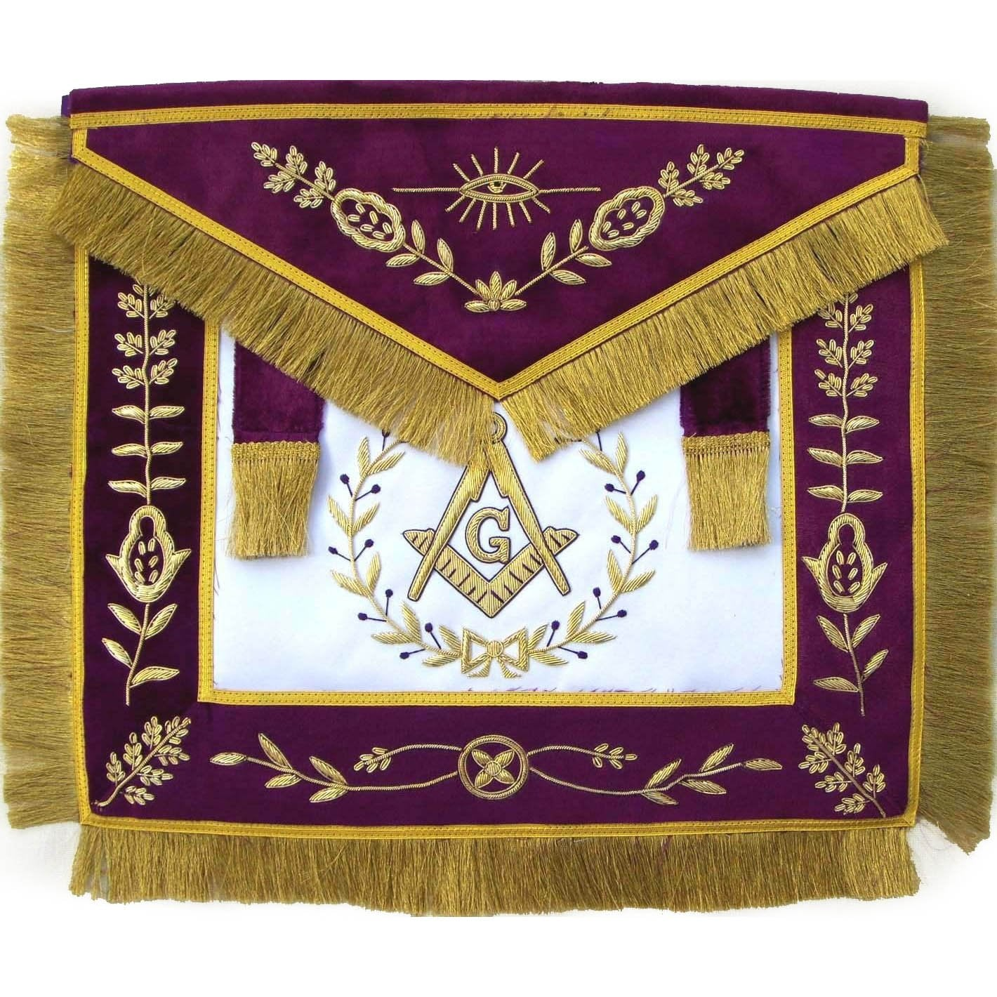 Masonic Grand Lodge Master Mason Apron Bullion Hand Embroidered - Bricks Masons