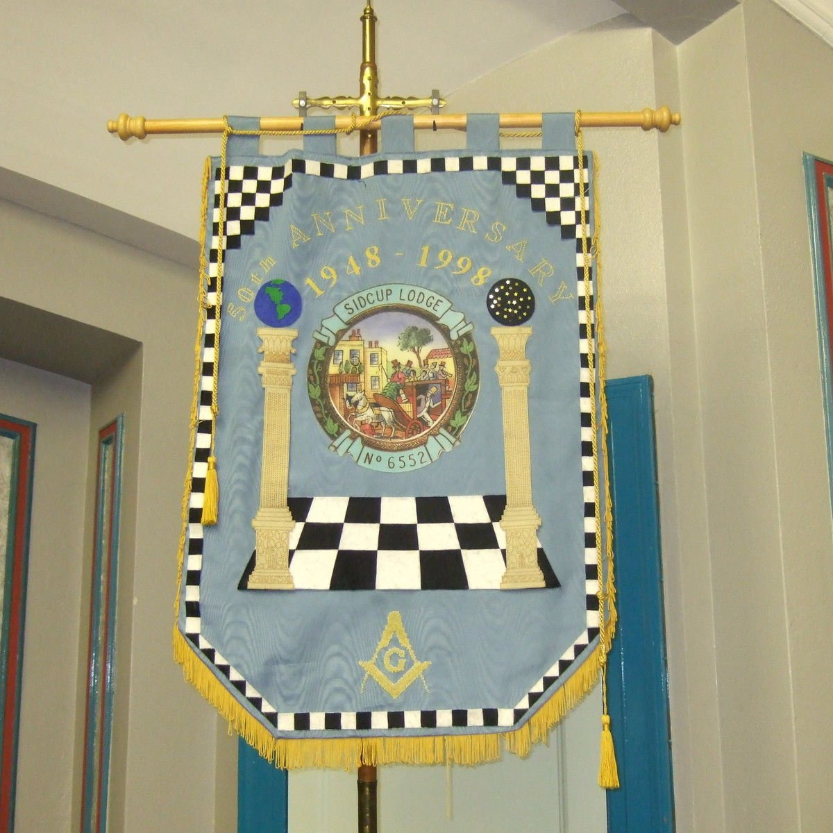 Machine Made Embroidery Masonic Banners - Bricks Masons