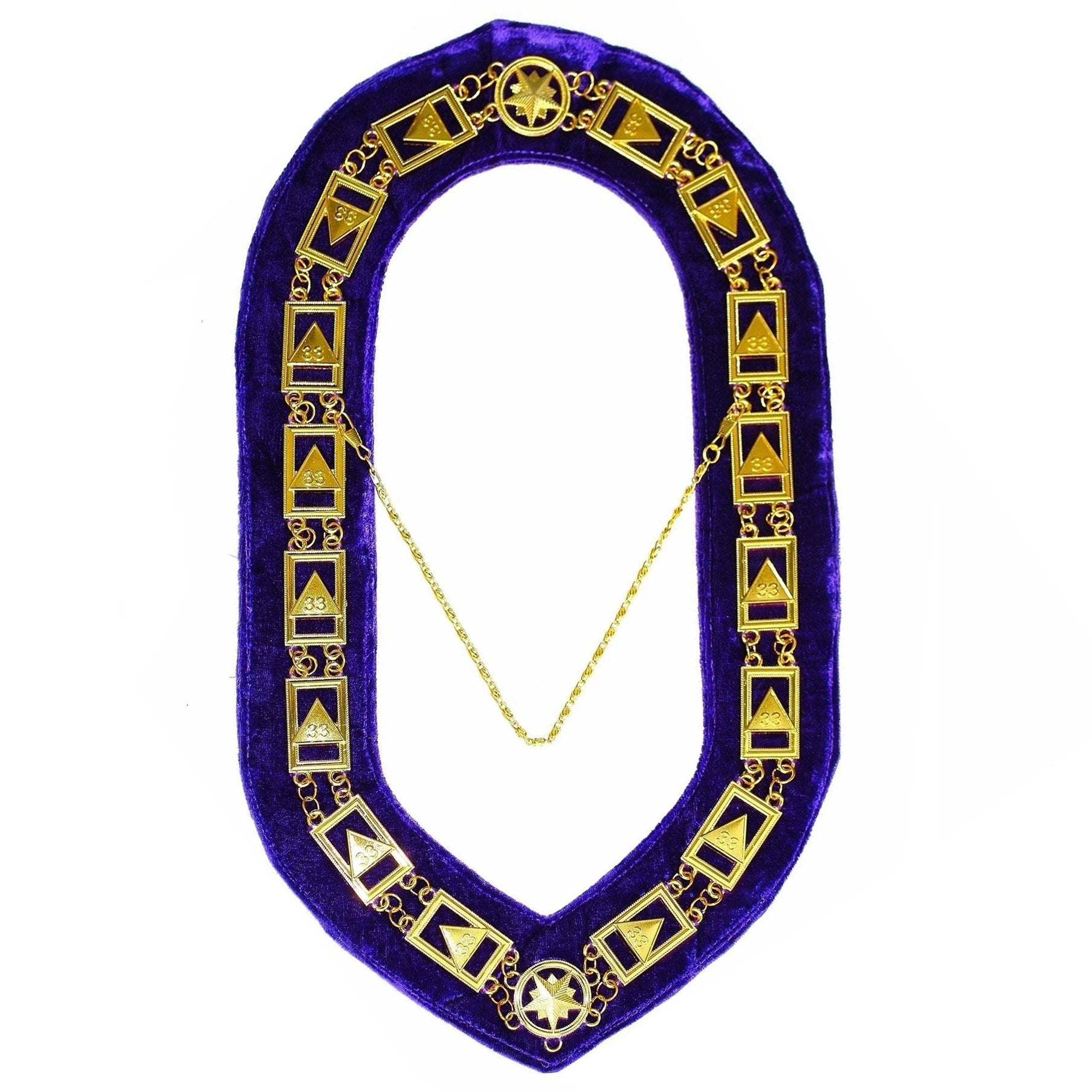 33rd Degree - Scottish Rite Chain Collar - Gold/Silver on Purple + Free Case - Bricks Masons