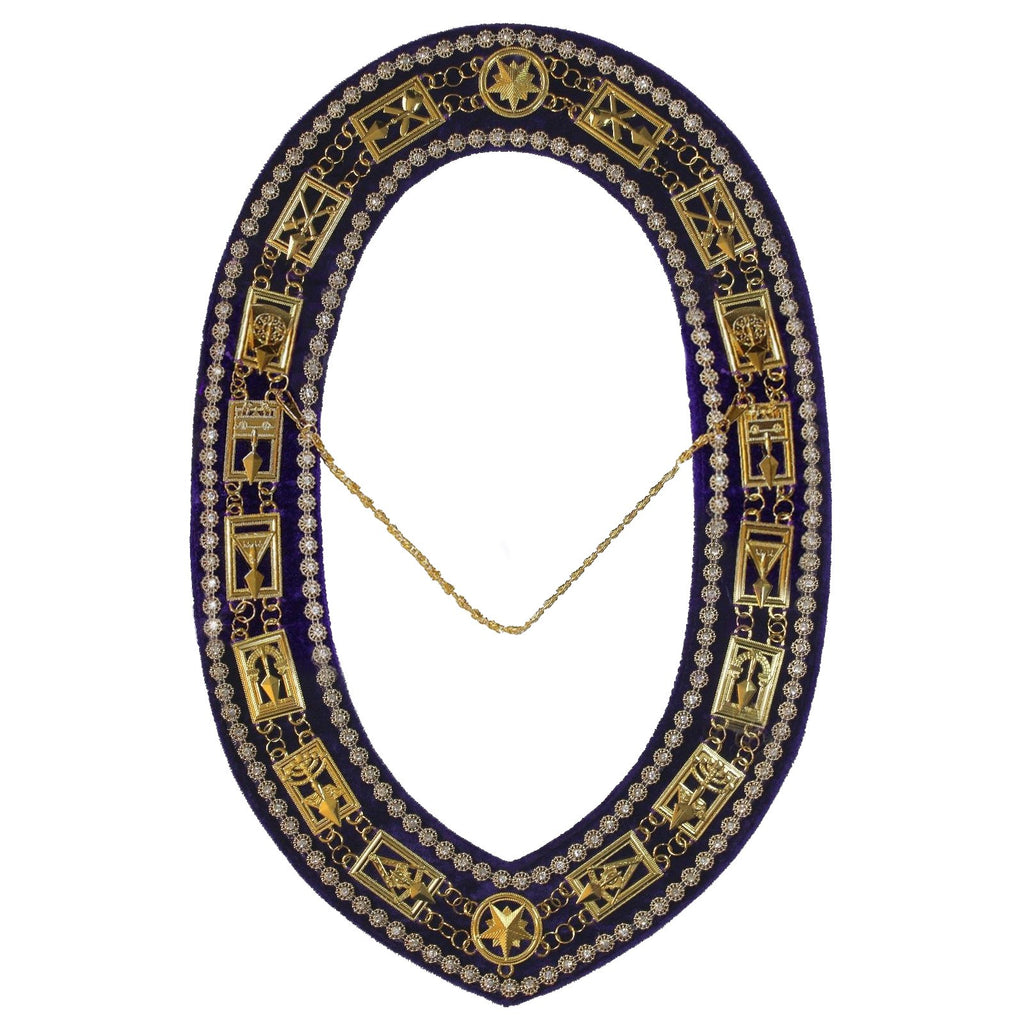 Cryptic Mason - Royal & Select Rhinestones Chain Collar - Gold/Silver On Purple + Free Case - Bricks Masons