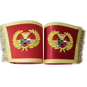 Past Grand High Priest Gauntlet Cuff Set, Royal Arch PGHP Masonic Cuffs - Bricks Masons