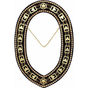 33rd Degree - Scottish Rite Rhinestone Chain Collar - Gold/Silver on Black + Free Case - Bricks Masons