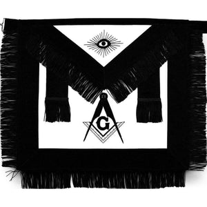 Masonic Master Mason Funeral Apron Black With Fringe Hand Embroidered - Bricks Masons