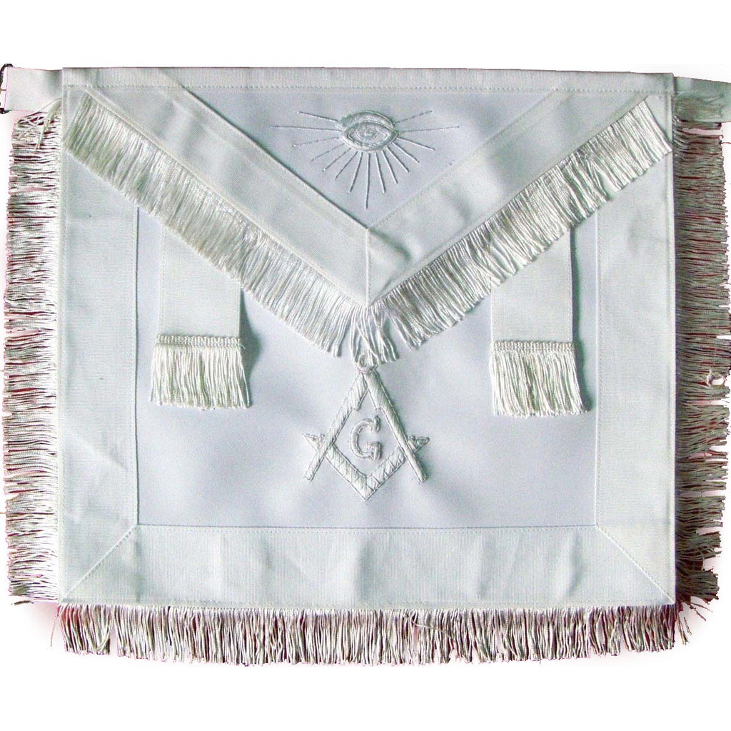 Masonic Master Mason Apron All White With Fringe - Bricks Masons