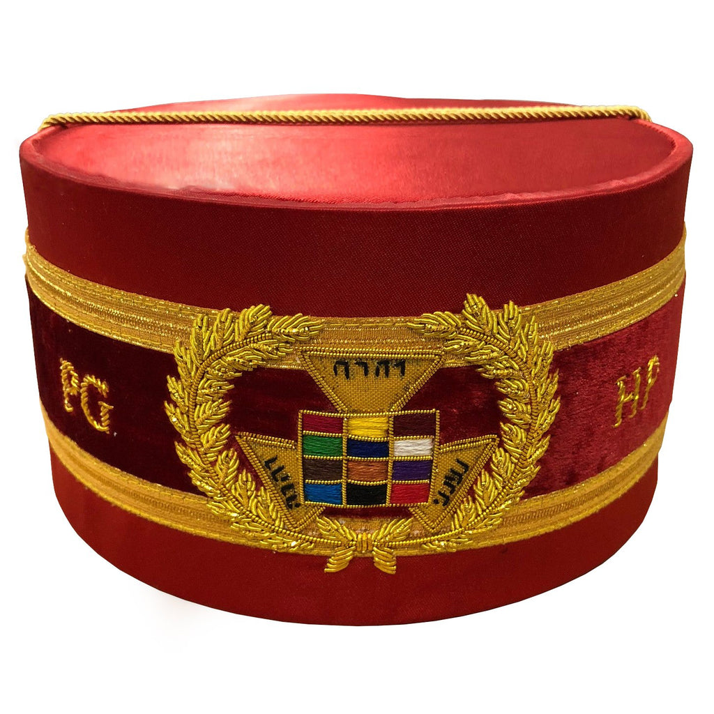 Royal Arch Grand Past High Priest PHP Bullion Hand Embroidered Cap Red - Bricks Masons