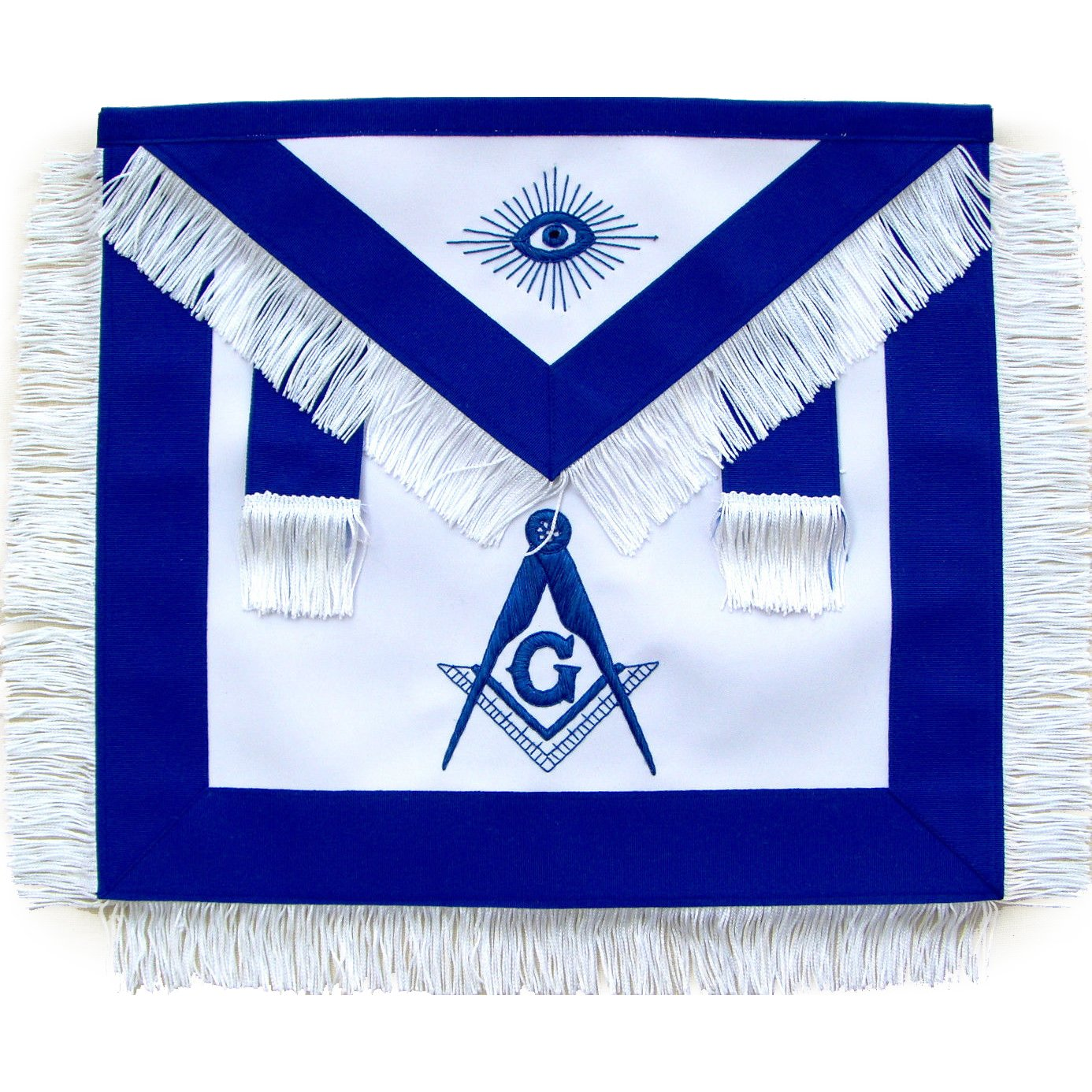 Masonic Master Mason Apron With White Fringe - Bricks Masons