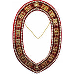 Shriner - Masonic Rhinestone Around Chain Collar - Gold/Silver on Red + Free Case - Bricks Masons