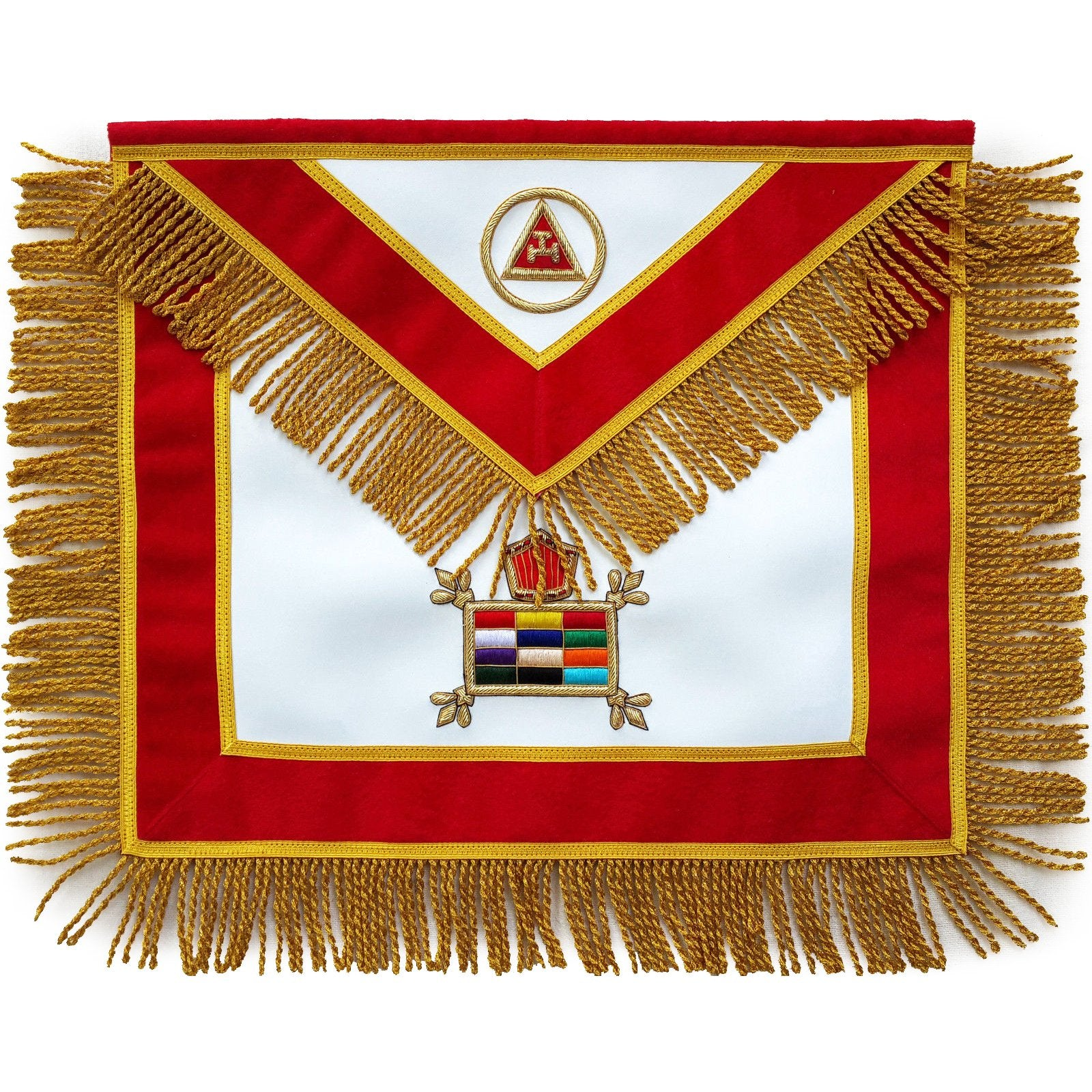 Masonic Massachusetts Chapter Apron Hand Embroidered - Bricks Masons