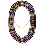 OES - Regalia Rhinestones Chain Collar - Gold/Silver on Purple + Free Case - Bricks Masons