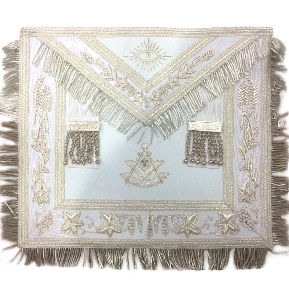 Masonic White Blue Lodge Past Master Apron Hand Embroidered Bullion Vine - Bricks Masons