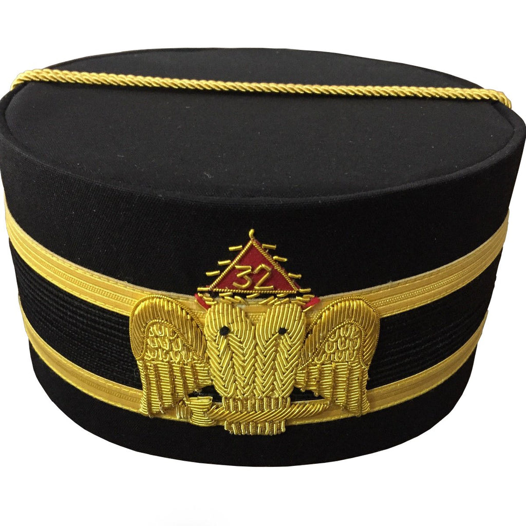 32nd Degree Wings DOWN Scottish Rite Black Cap Bullion Hand Embroidery - Bricks Masons