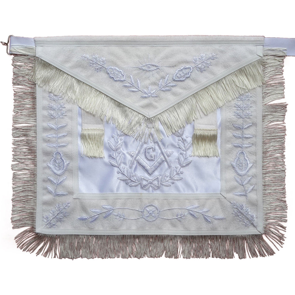 Masonic All White Master Mason Apron With Fringe - Bricks Masons