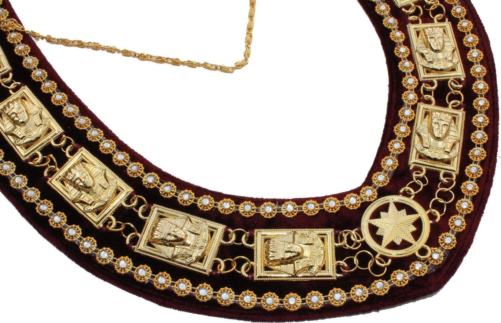 Sphinx Head - Rhinestone Chain Collar - Gold/Silver on Maroon + Free Case - Bricks Masons