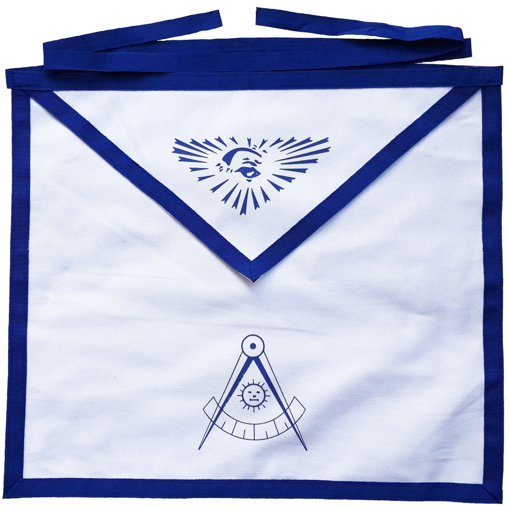 Masonic Blue Lodge White Cotton Duck Cloth Past Master Apron Printed - Bricks Masons