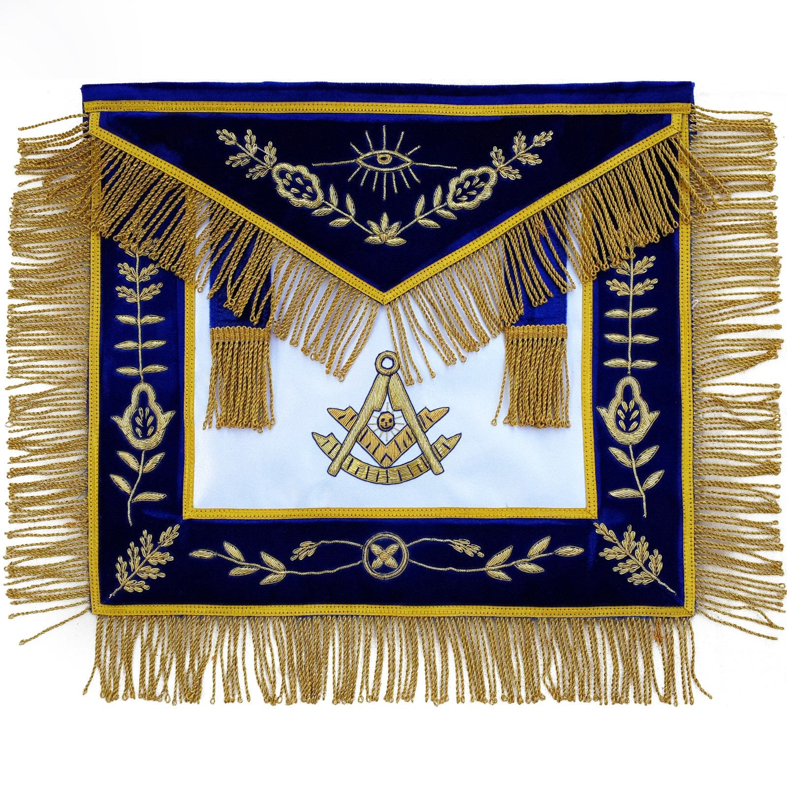Masonic Past Master Apron Blue Hand Embroidered Bullion Vine Work - Bricks Masons