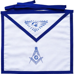 Masonic Blue Lodge White Cotton Duck Cloth Master Mason Apron Printed - Bricks Masons