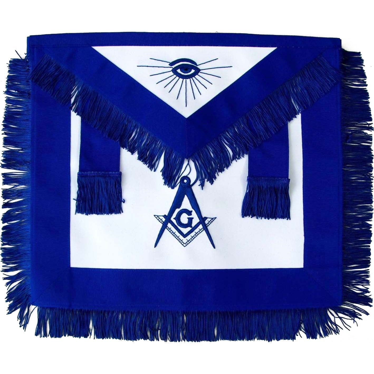 Masonic Master Mason Blue Lodge Apron Blue With Fringe - Bricks Masons