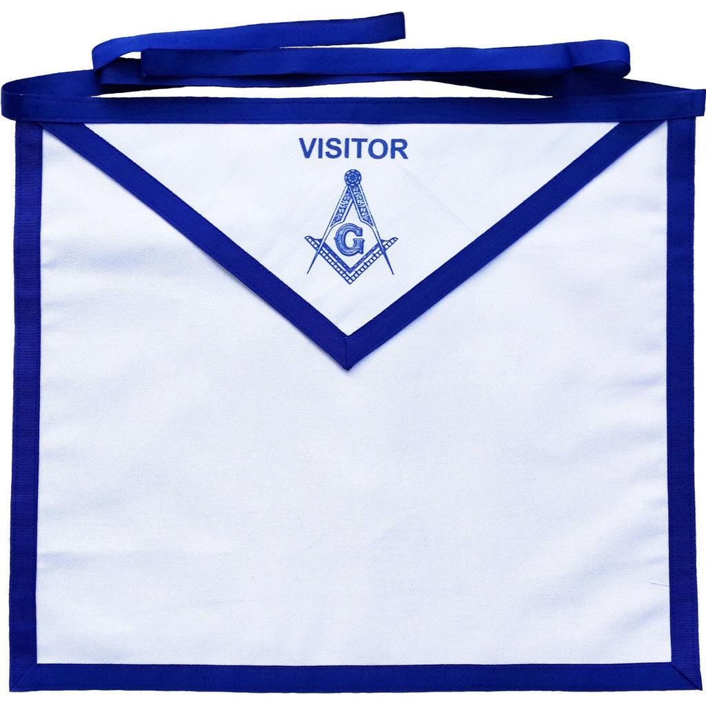 Masonic Blue Lodge White Cotton Duck Cloth Visitor Apron Printed - Bricks Masons