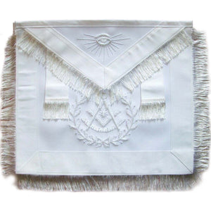 Masonic Past Master Apron All White With Wreath Fringe - Bricks Masons