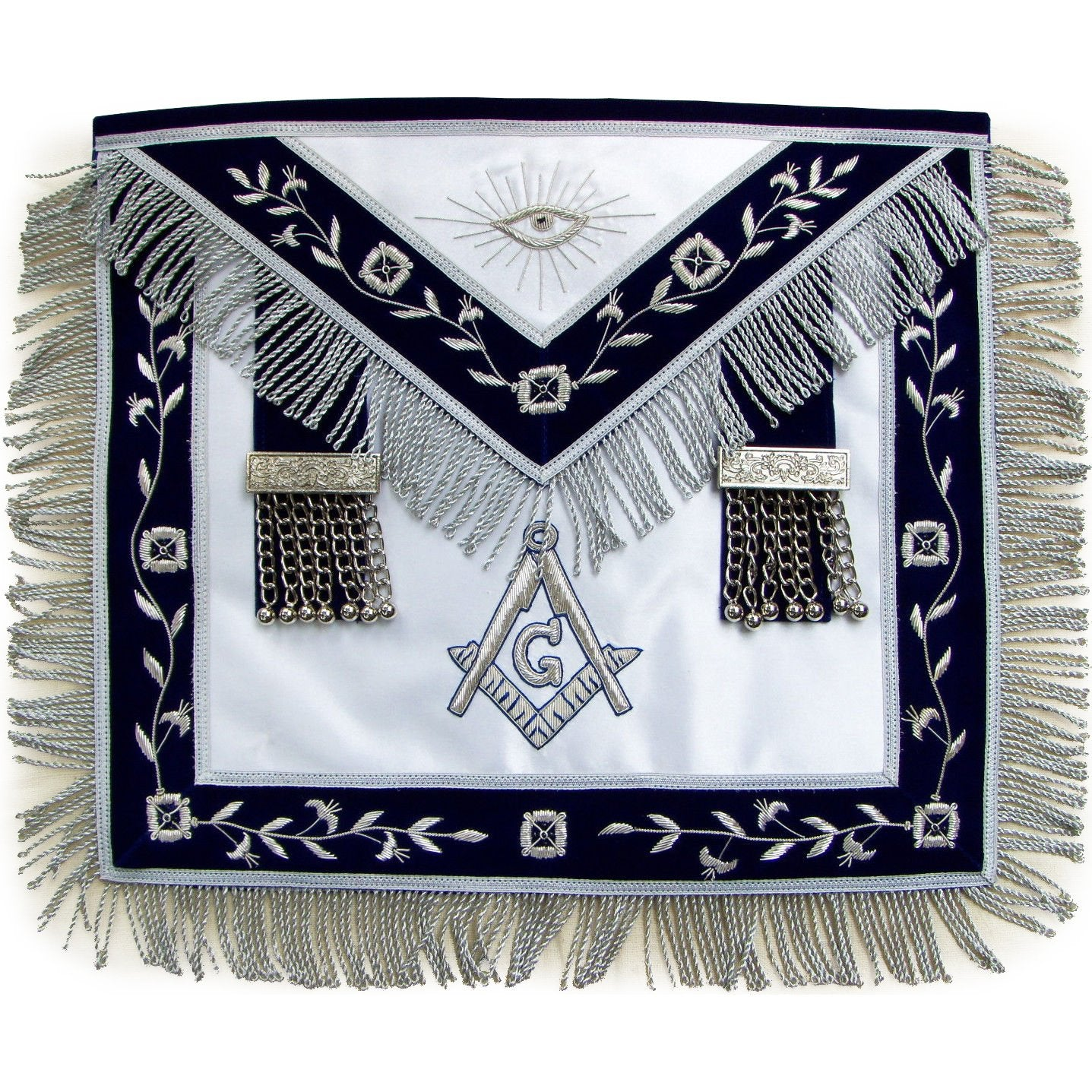Masonic Master Mason Silver Bullion Hand Embroidered Apron Metal Tassels - Bricks Masons