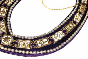 Grand Lodge - Rhinestones White Filling Chain Collar - Gold/Silver on Purple Velvet - Bricks Masons