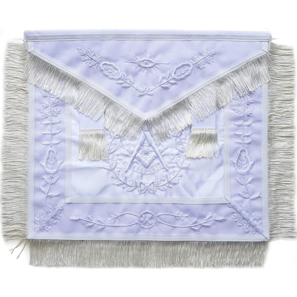 Masonic Past Master Apron All White With Fringe - Bricks Masons