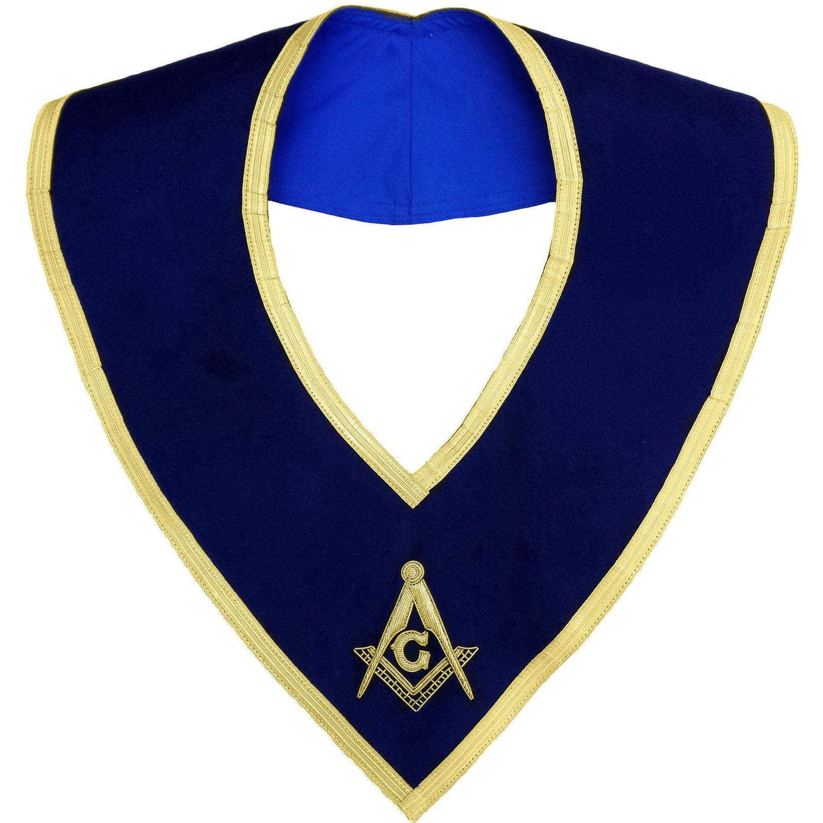 Masonic Master Mason Collar Gold on Blue Velvet Hand Embroidered - Bricks Masons
