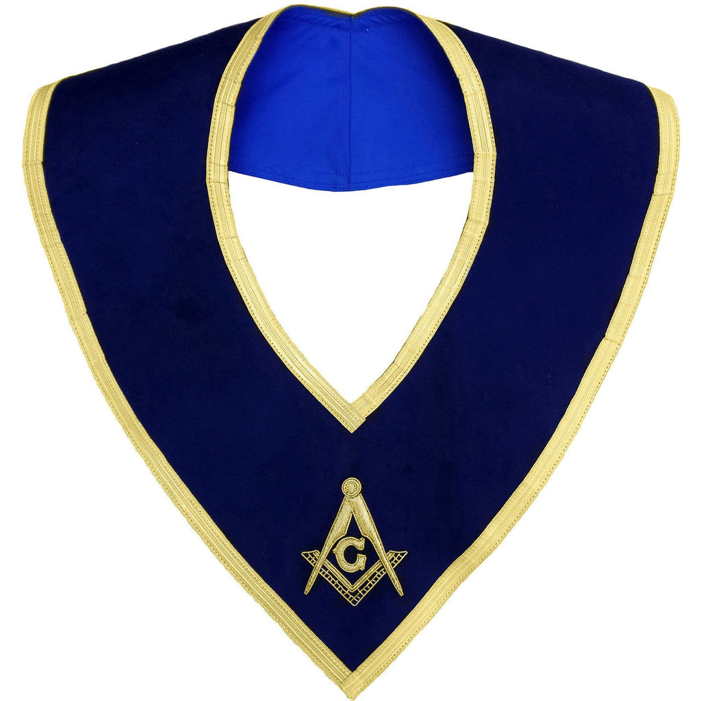 Masonic Master Mason Collar Gold on Blue Velvet Hand Embroidered