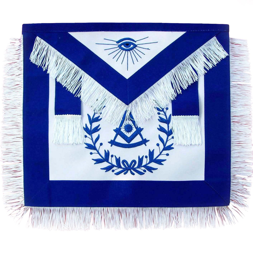 Masonic Past Master Blue With Wreath and Fringe Apron - Bricks Masons