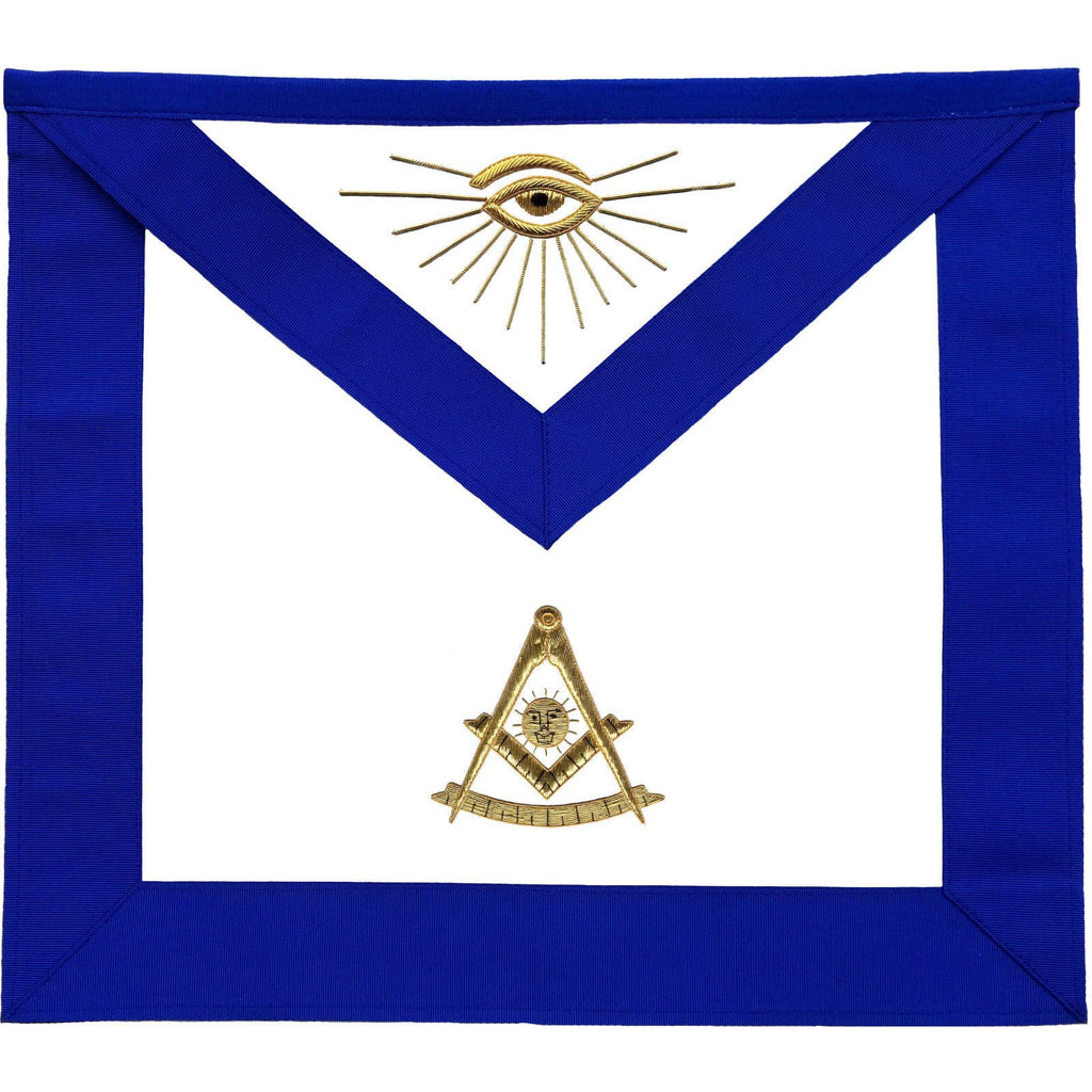 Masonic Blue Lodge Past Master Apron Golden Bullion Hand Embroidered - Bricks Masons