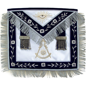 Masonic Blue Lodge Past Master Apron Hand Embroidered Bullion Vine - Bricks Masons