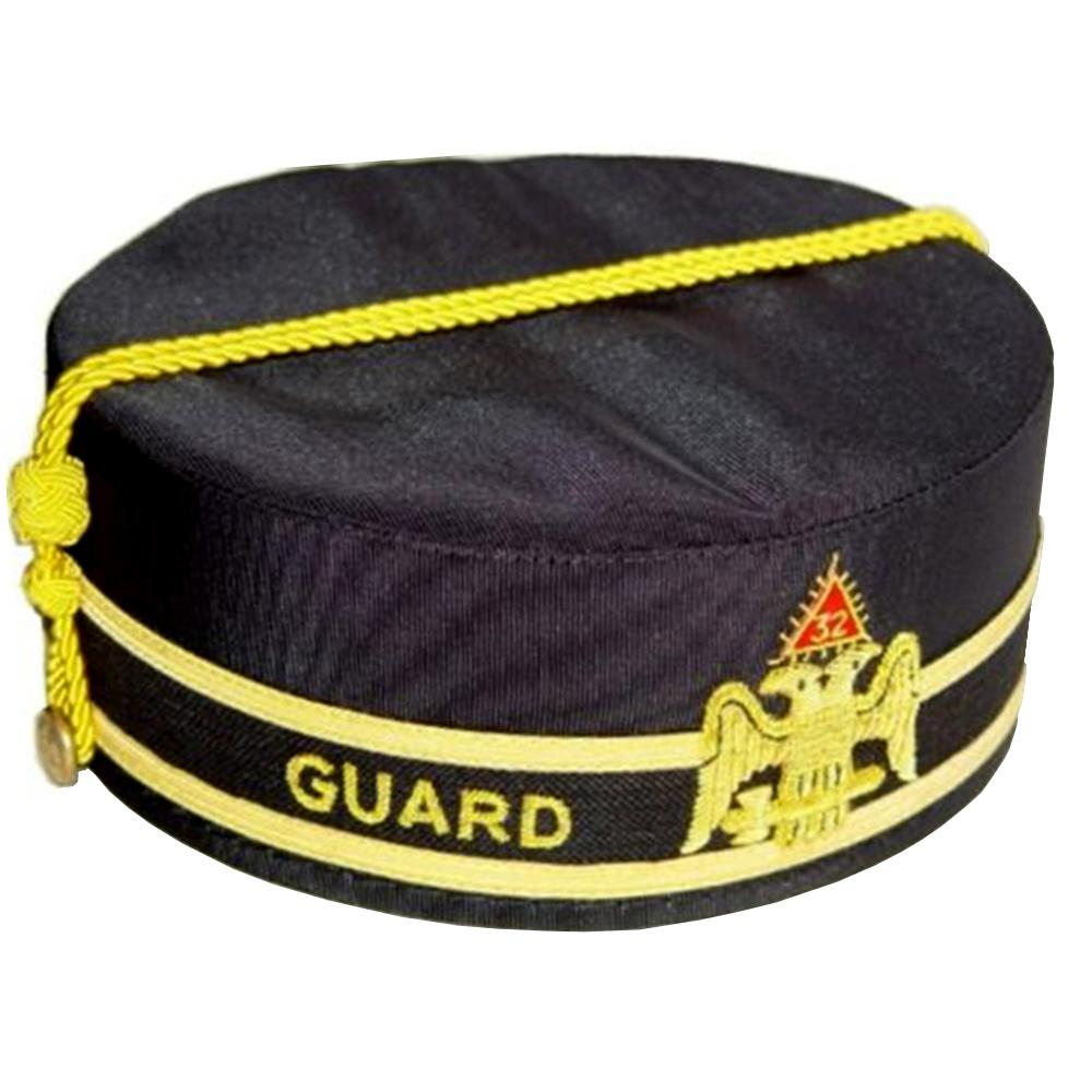 32nd Degree Guard Scottish Rite Wings DOWN Black Cap Hand Embroidery - Bricks Masons