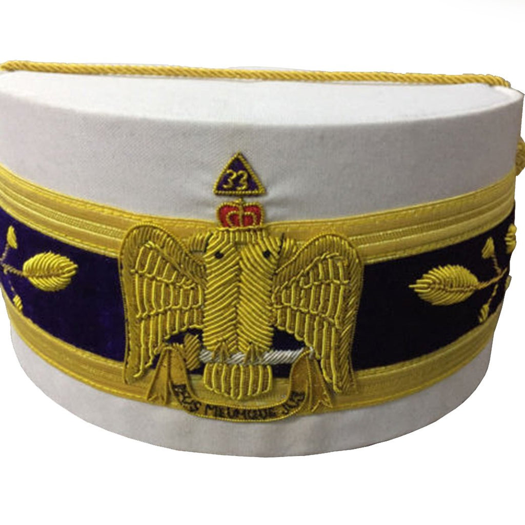 33rd Degree Scottish Rite Wings DOWN White Cap Bullion Hand Embroidery - Bricks Masons