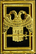 32nd Degree - Scottish Rite Wings DOWN Chain Collar - Gold/Silver on Purple + Free Case - Bricks Masons