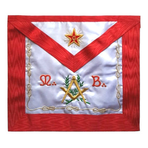 Masonic Scottish Rite Apron - ASSR - Master Mason - Square Compass MB Flaming Star - Bricks Masons