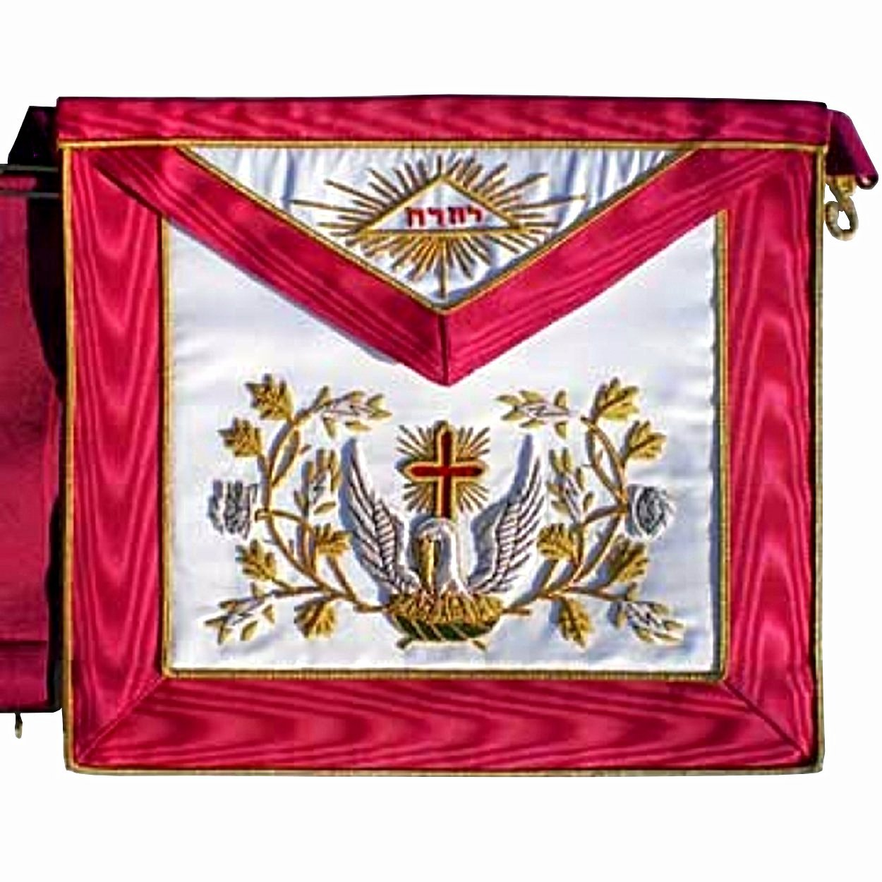 Masonic Scottish Rite AASR Silk cardinal red apron 18th degree Hand Embroidered - Bricks Masons