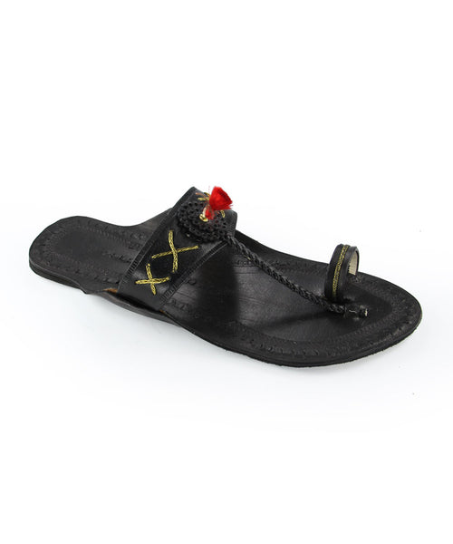 Black Leather cord stitching Kolhapuri Chappal for Women Buy Online Authentic Original Traditional Best Quality from Kolhapur (Maharashtra)