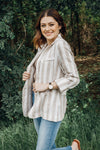 Walk The Line Pocketed Linen Blazer - Taupe