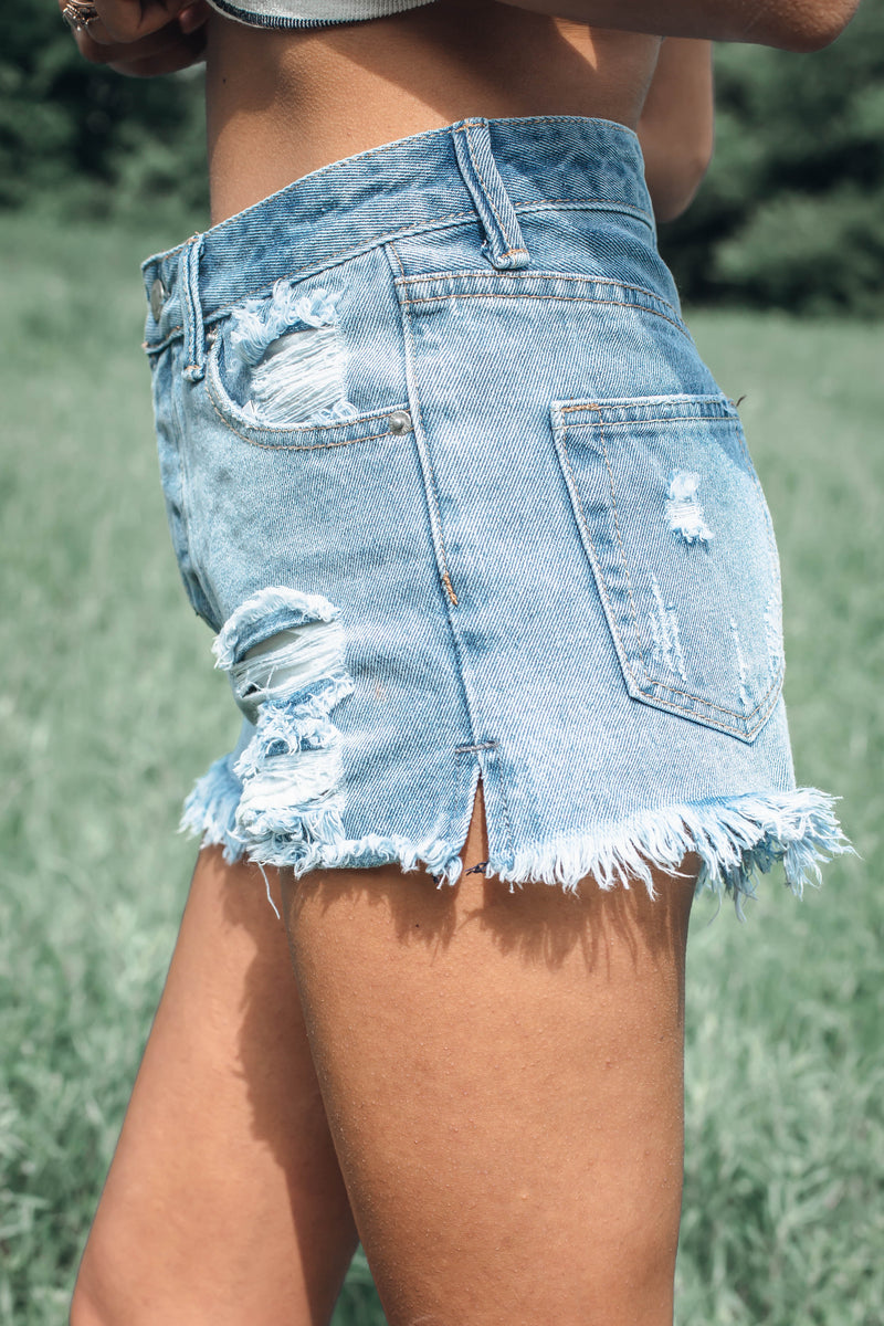 Keep It Real High Rise Distressed Denim Shorts