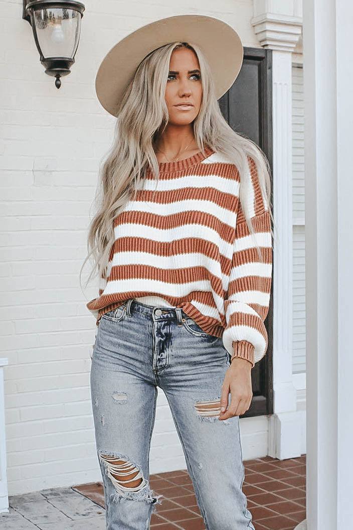 You and Me Striped Ribbed Sweater - Rust