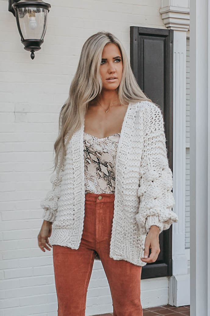 Chunky Knit Cardigan - Natural