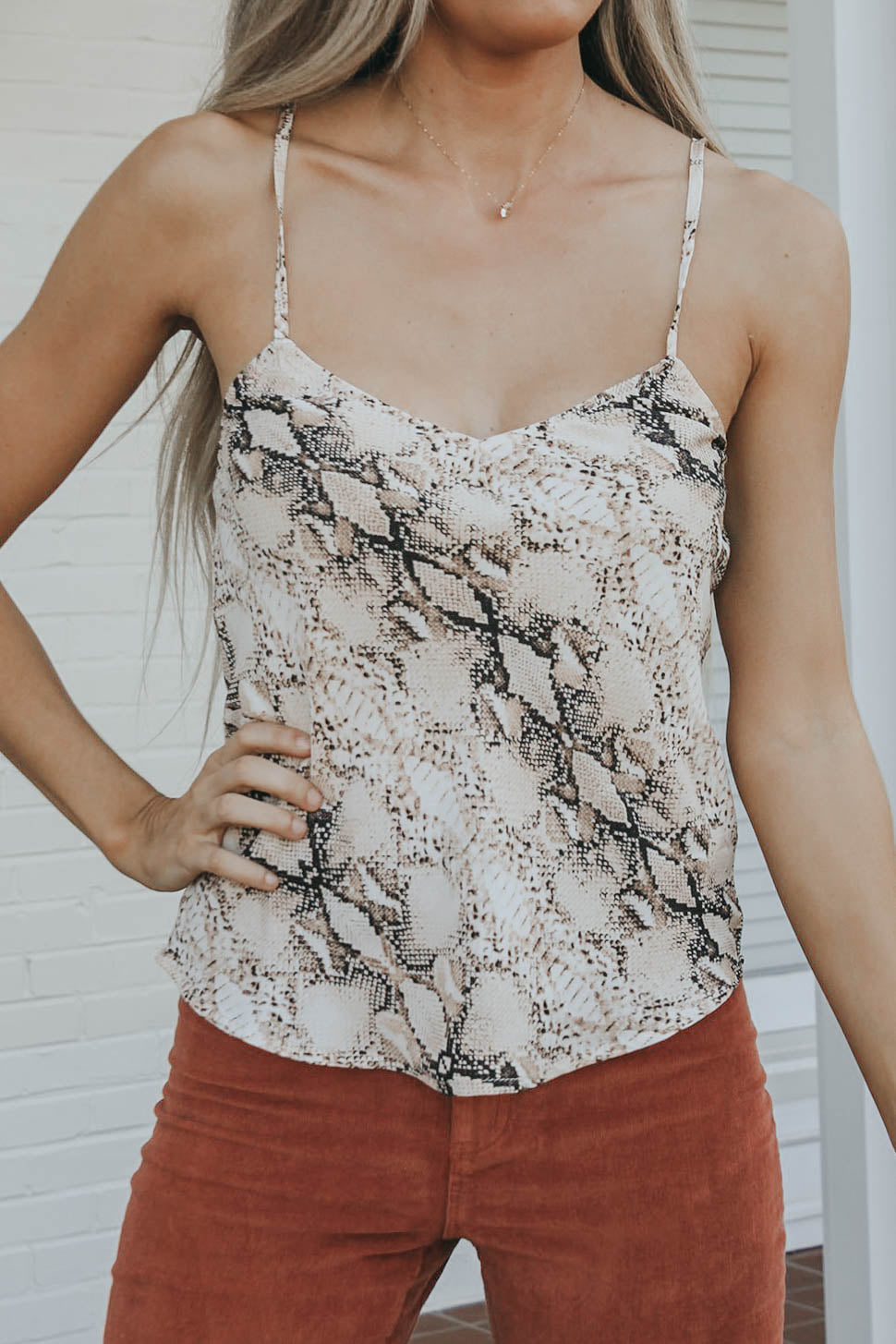 Snake Print Cami - Taupe
