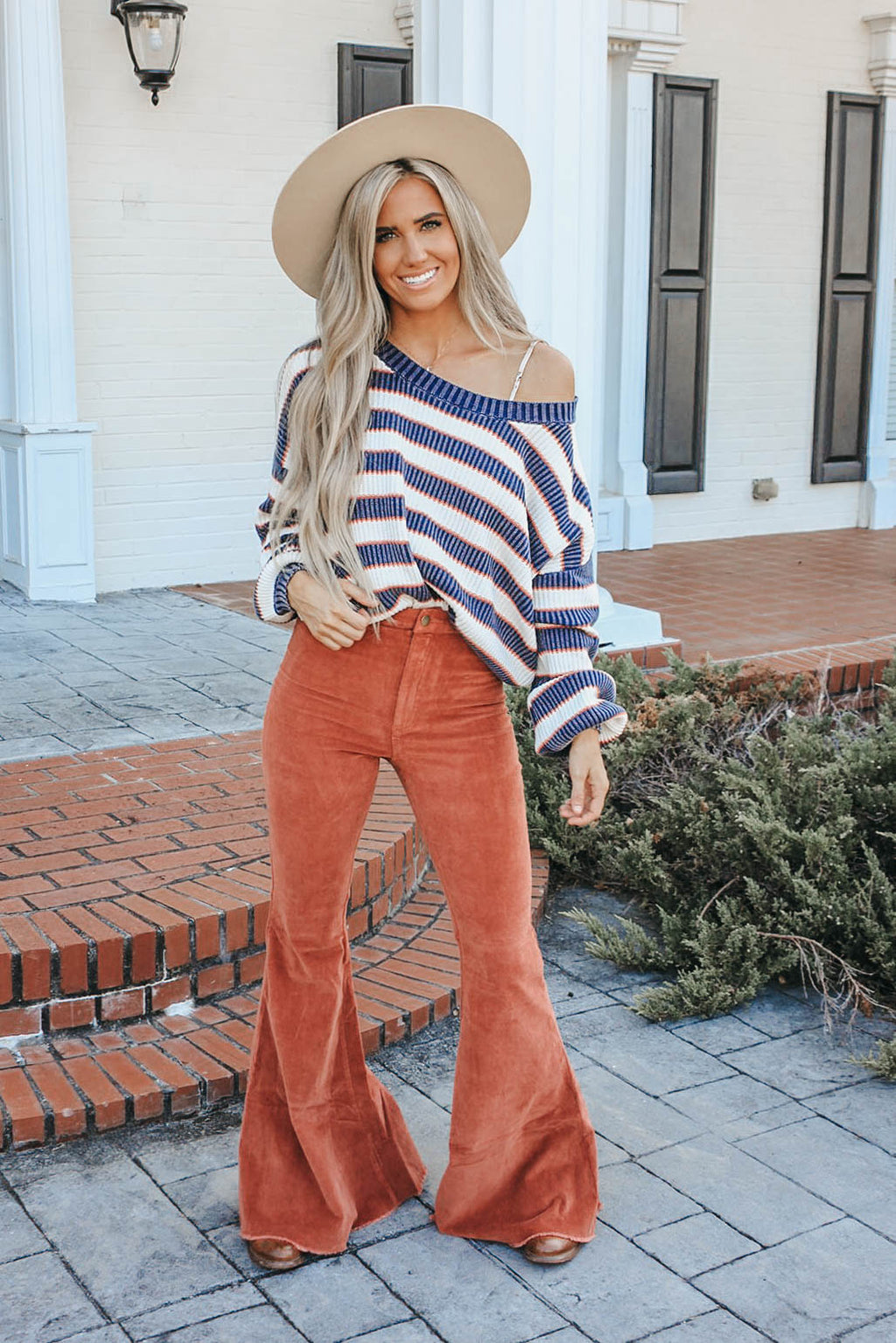 You and Me Striped Ribbed Sweater - Navy