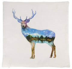 Elk | Pillow Cover | Double Exposure | Throw Pillow | Home Decor | Wilderness | 18 x 18 | Forest Animal | Animal Lover Gift | Cabin Decor