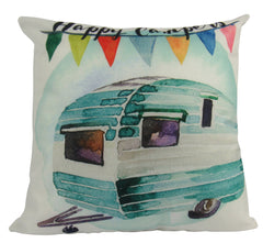 MINI: Happy Camper | Pillow | 8 x 8 Pillow | Camper Decorations | Throw Pillow | Vintage Camper | Pillow | Home Decor | Wanderlust | Decor