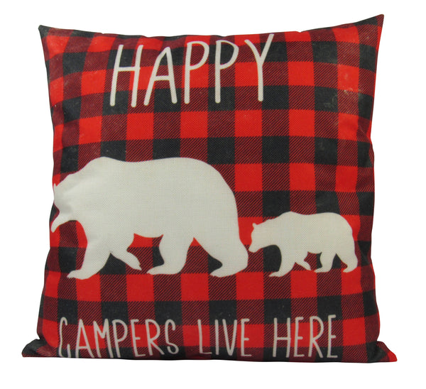 Happy Campers | Pillow Cover |  18 x 18 | Home Decor | Throw Pillow | Mama Bear Decor | Cabin Decor | Happy Camper Decor | Plaid Pillow| 18""