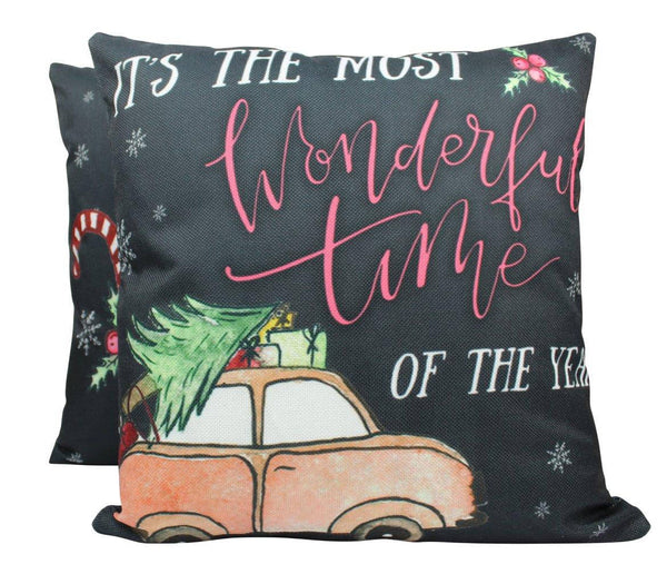Most Wonderful Time of the Year | Pillow Cover | Christmas Pillowcases | Christmas Decor | Throw Pillow | Home Decor | Rustic Christmas